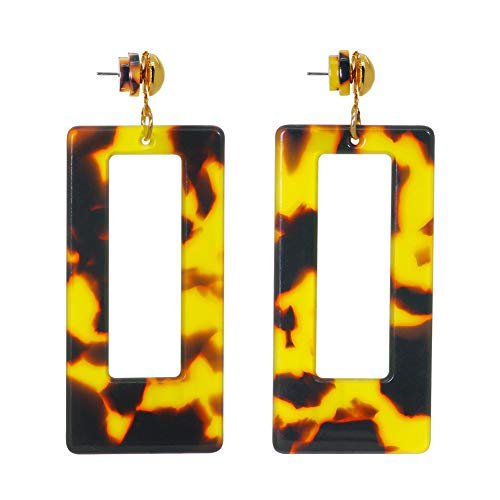 (Acrylic Earrings for Women Resin Marble Texture Geometric Rectangle Gold Plated Pendant Earrings(Leopard Print))