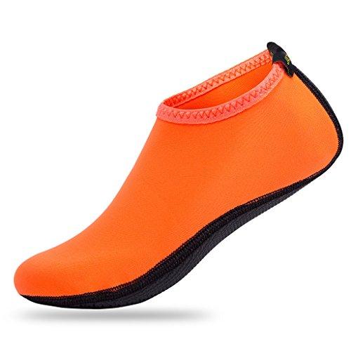 JACKSHIBO Barfuß Wasserhaut Schuhe Leichte Aqua Socken für Beach Swim Surf Yoga Schwimmen Übung Orange C