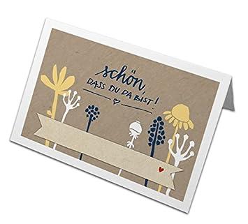 50 Tischkarten Schon Dass Du Da Bist Beige Blau Weiss Mit Blumen
