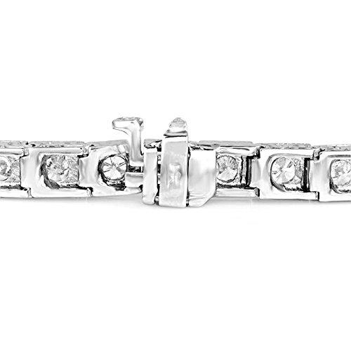 3Diamant rond Fashion Bracelet de Tennis en or blanc 14K