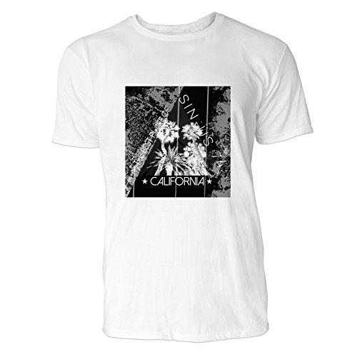 SINUS ART® Palmen mit Dreieck – The Best Place Of California Herren T-Shirts in Weiss Fun Shirt mit tollen Aufdruck