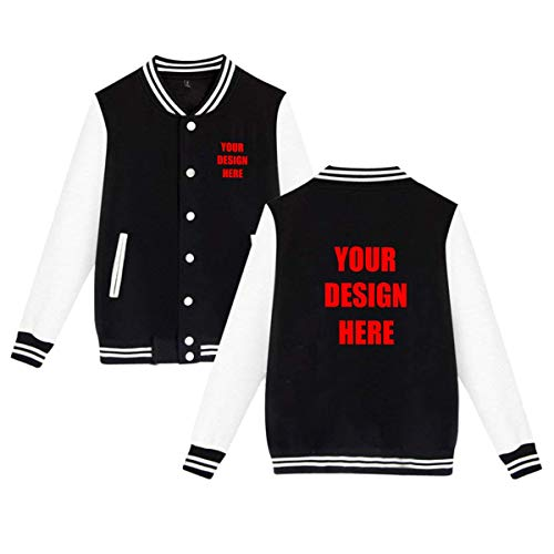 Custom Logo Text Print Men's Women's Varsity Jacket Baseball Jacket Personalized Sport Coats Black
