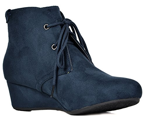 Ankle Low Heel Booties Ramona DREAM Blue PAIRS TOWERR dark Wedge Women's twXYHqT