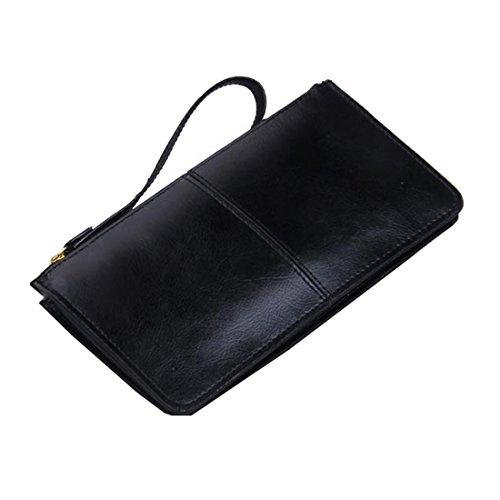 Wristlet Card Iphone Clutch Purse Splice Leather Black Zipper Women's Wallet dYvqd4
