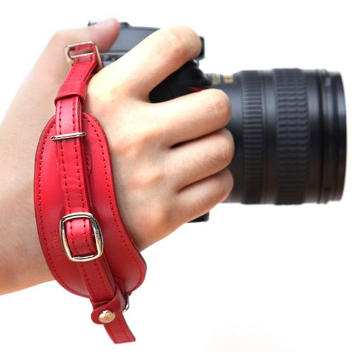 Ciesta CSS-HG01-07 Leather Hand Grip + Plate (Red) for Digital SLR DSLR Camera ()
