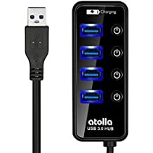 USB 3.0 Hub, atolla 4 Ports Super Speed USB 3 Hub Splitter With On Off Switch With 1 USB Charging Port (Cable Length 2 Feet, No AC adapter)