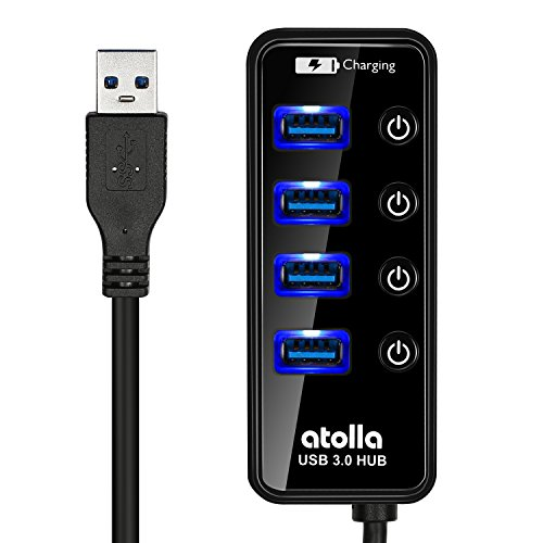 USB 3.0 Hub, atolla 4 Ports Super Speed USB 3 Hub Splitter With On Off Switch With 1 USB Charging Port (Cable Length 2 Feet, No AC adapter) (4-Port hub) by Atolla