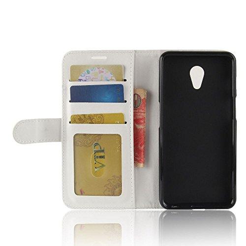 Meizu M6S Funda DISLAND [Ranura de la tarjeta] [Slim Fit] Soporte cartera Flip PU suave cuero funda piel para Meizu M6S,Negro Blanco