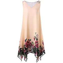 Feitong Women Sleeveless Knee Length Summer Dresses Plus Size V Neck Floral Handkerchief Chiffon Dress Xx Large Yellow