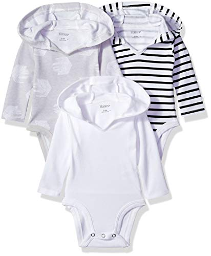 Hanes Ultimate Baby Flexy 3 Pack Hoodie Bodysuits, Black/Grey/White, 0-6 Months