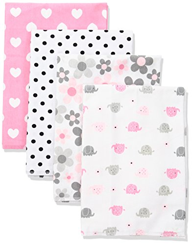 Gerber Baby 4 Pack Flannel Burp Cloth, Elephants/Flowers, One Size