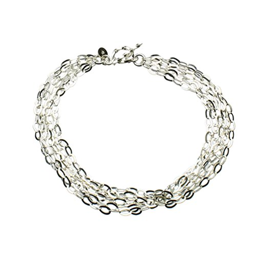 Multi-Strand Flat Oval Sterling Silver Chain Toggle Bracelet Italy 7.5 Inch