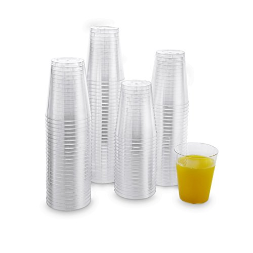 Xplosions 7 oz Cups, Clear Hard Plastic Cups, Round Party Cups/Tumblers [100 PACK]