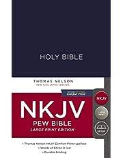 NKJV, Pew Bible, Large Print, Hardcover, Blue, Red Letter, Comfort Print: Holy Bible, New King James Version