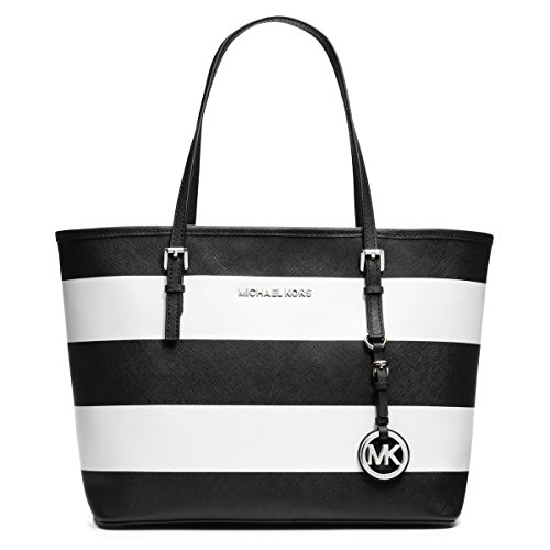Michael Kors Jet Set Small MacBook Travel Tote Handbag (White/Black)