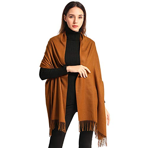 Women Soft Pashmina Scarf Large Cashmere Scarves Stylish Warm Blanket Solid Winter Shawl Elegant Wrap 78.5x27.5 (Coffee, Bag packing)