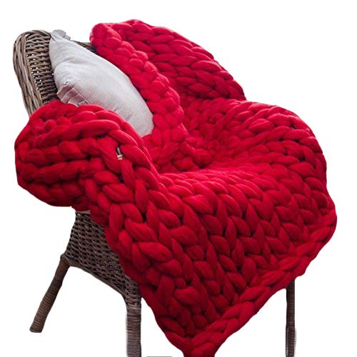 Red Super Chunky Knit Blanket Merino Wool Blanket 59x71in Handmade Throw Extreme Knitting Chunky Blanket Super Bulky Yarn Throw by Clisil (Image #5)