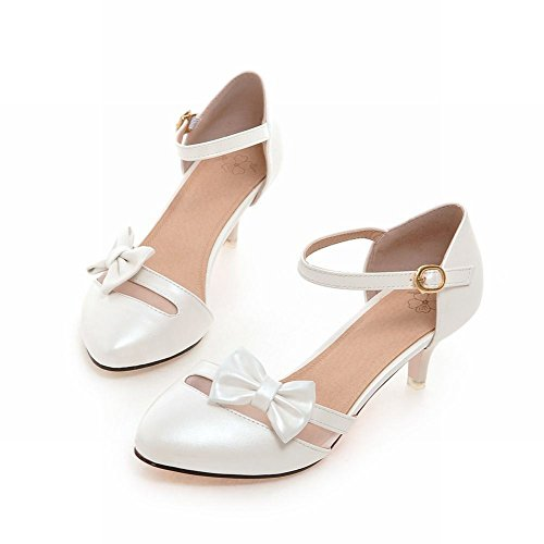 Mee Shoes Ladies Cute Kitten-heel Bows Upper Mary Jane Shoes White XGYrPxW9dj