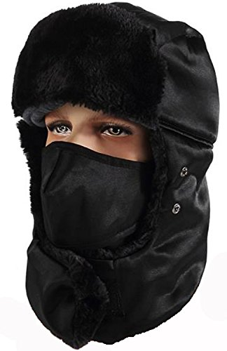 DGDWARM Winter Warm Trooper Trapper Hat for Men,  Ear Flap Windproof/Waterroof Hats, Breathable & Removable Mask, Extra Thick Fleece Lining, Black