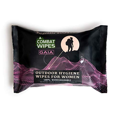 Combat Wipes Gaia | Feminine Hygiene Outdoor Wet Wipes | Extra Thick, Ultralight, Biodegradable, pH Balanced Body & Hand Cleansing Cloths for Women w/Natural Aloe & Vitamin E (25 ()