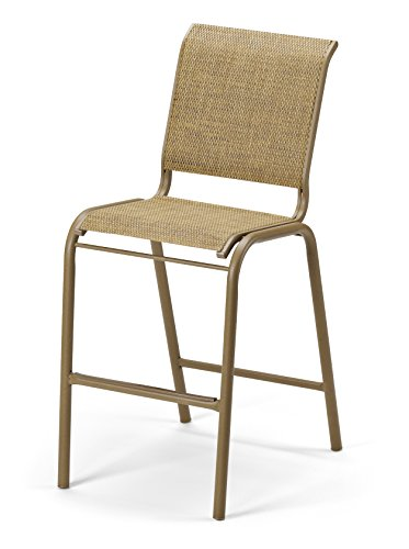Telescope Casual Furniture Reliance Contract Sling Collection Bar Height Stacking Aluminum Armless Chair, White, Textured Snow Finish (White Sling Patio Chairs)