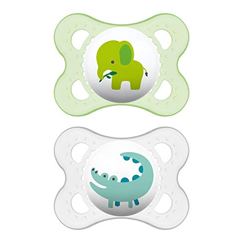 MAM Pacifiers, Baby Pacifier 0-6 Months, Best Pacifier for Breastfed Babies, Animal Design Collection, Unisex, 2-Count