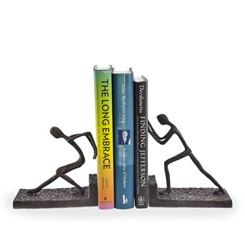 Pushing Bookends - Danya B. ZI6314 Iron Bookend Set, Dark Brown