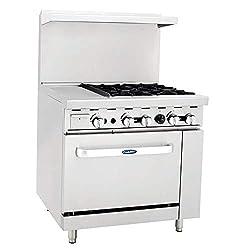 Cookrite Ato 12g4b Commercial Restaurant Griddle 4 Burner Hotplates Natural Gas Range With 12 Manual Griddle On The Left Standard Gas Oven 148 000 Btu
