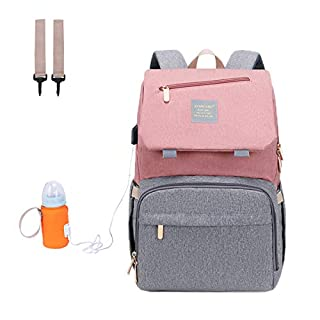 Manrany Diaper Bag Backpack, Multifunction Mummy Bag, Large Bag, Waterproof, USB Charging Port, Insulated Pockets for Mom&Dad, Pink Grey (Pink Grey)