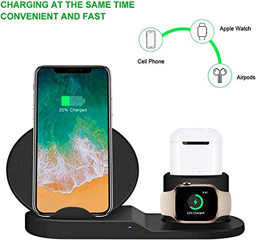 a13a25bb5cb09 Prestigious Wireless Qi Charger, 3 in 1 Fast Wireless Charging Stand for  Apple Watch,Charging Station for Airpods, Fast Wireless Charger Dock for  All ...