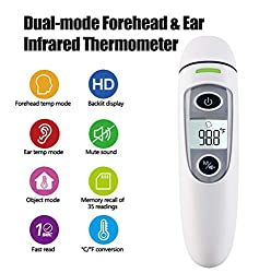 New Generation Forehead and Ear Thermometer for Fever, Digital Medical Infrared Thermometer for Baby, Infants, Kids and Adults, Accurate Baby Clinical Body Fever Thermometers, CE and FDA Approved
