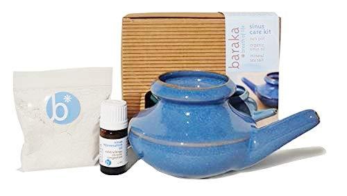 (Baraka Complete Sinus Care Kit - Handcrafted in USA - Neti Pot, Salt Rinse, Sinus Oil (Blue))