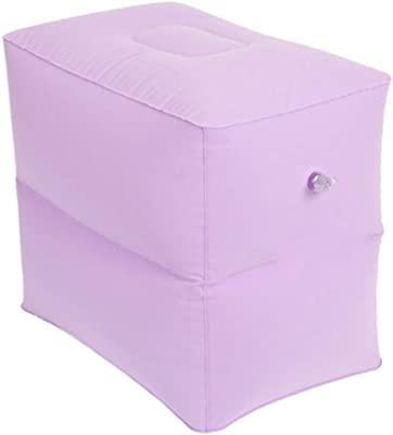 CAIJUN Footstool Multifunction Travel Mat Foldable Inflatable Portable Flocking Fabric Gift, 3 Colors, 2 Size (Color : Purple, Size : 43x30x35cm)