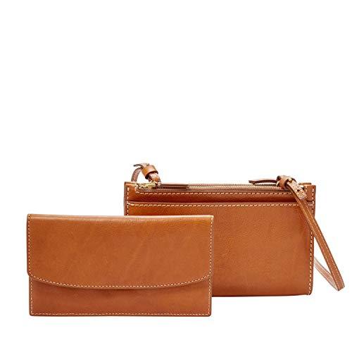 Fossil Women's Sage Leather Mini Bifold Bag Wallet, Vintage Brown