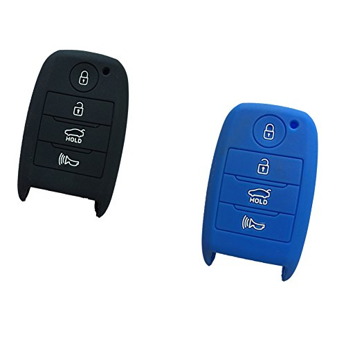 2pcs-new-black-and-blue-silicone-skin-bag-4-buttons-smart-key-case-cover-key-fob-skin-covers-for-kia