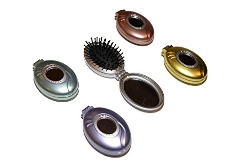 Viva Compact Folding Hair Brush Assorted Colors 3 Pack (Open Hair Brush compare prices)