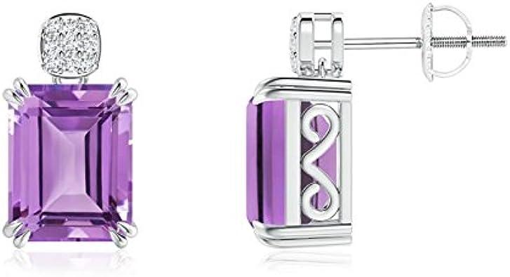 Tornillo espalda cóctel Esmeralda Corte Amatista pendientes para las mujeres con diamond cluster