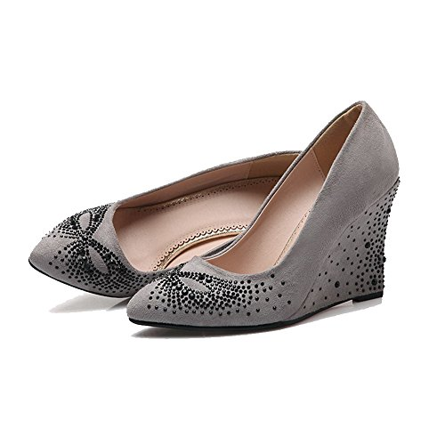 AllhqFashion Womens Solid Frosted High-Heels Pull-on Pointed Closed Toe Pumps-Shoes Gray oUOXvA