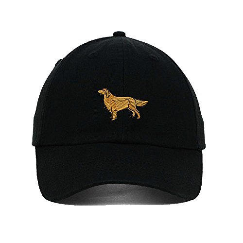 Golden Retriever Embroidery Twill Cotton 6 Panel Low Profile Hat Black