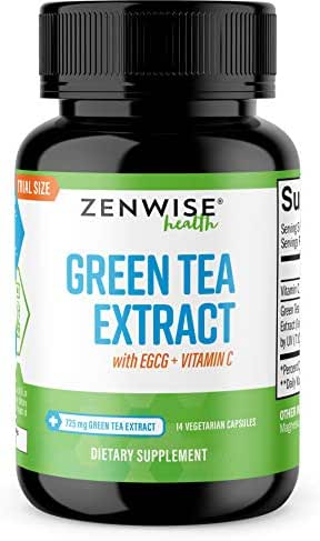 Green Tea Extract Supplement with EGCG & Vitamin C - Antioxidants & Polyphenols for Immune System - for Weight Support & Energy - Natural Pills for Brain & Heart Health - 14 Count