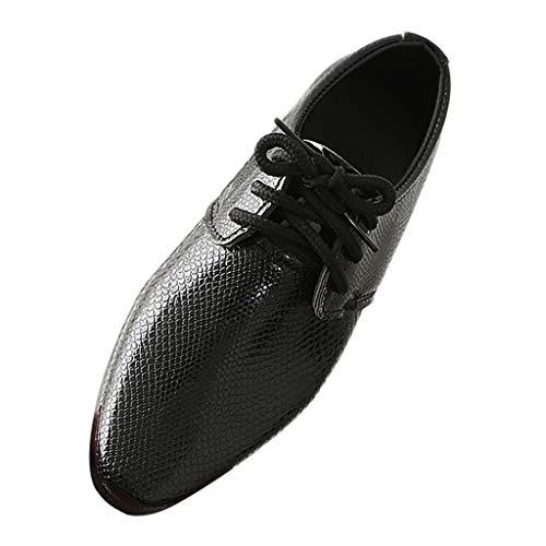 RAINED-Boys Lace-Up Dress Comfort Shoe Plain Toe Uniform Oxford Dress Shoes Performance Shoes(Little Kid/Big Kid) Black