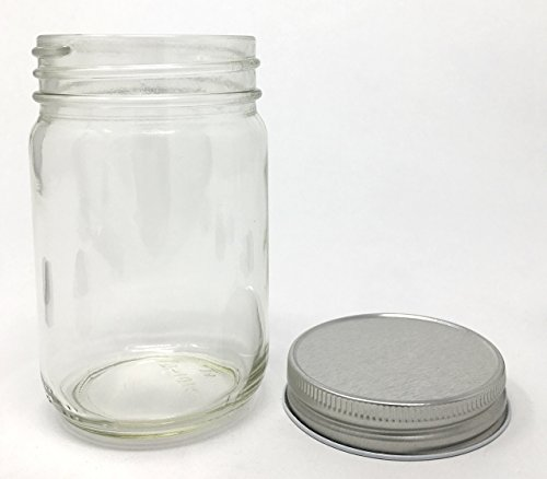 12 oz Old Fashioned Glass Jar with Silver Metal Non-Button Lid 12-Pack by Packaging For (12 Oz Glass Candle)