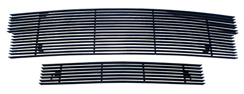 (MaxMate Fits 97-98 Ford Expedition/F150 4WD Main Upper+Lower Bumper 2PC Replacement Black Billet Grille Grill Insert)