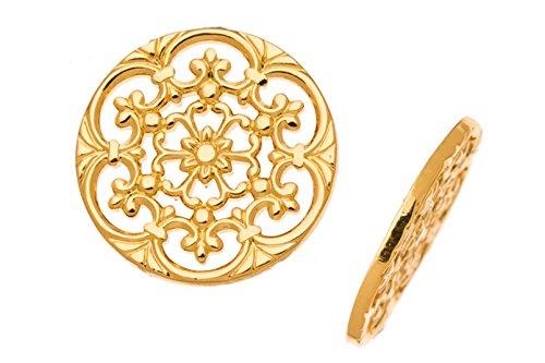 Brass Link, 16K Gold-Finished Medium Circle Link with Vine 22.5mm sold per pack of 4pcs