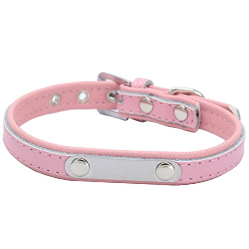 Padded Leather Pet Collar with Personalized Lettering Tags for Little Dog & Cat(XS,Pink)