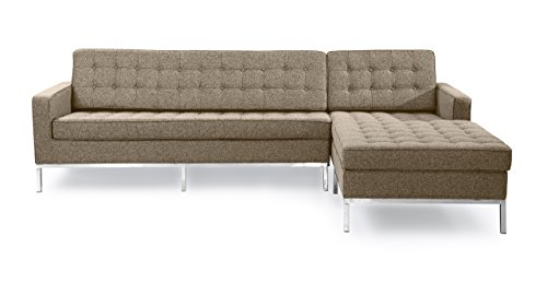 (Kardiel FKLSEC Oatmeal Florence Knoll Style Right Sectional Sofa Houndstooth Twill)
