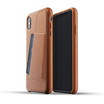 Mujjo Full Leather Wallet Case for iPhone Max Premium Genuine Leather  Natural Aging Effect Pocket for 2-3 Cards  Wireless Charging  Tan