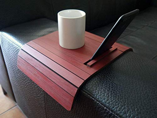- Wooden sofa armrest table with phone and tablet stand in many colors as bordeaux red Small flexible over the couch side tables Narrow folding dining settee slinky arm tray Armchair trays server drink