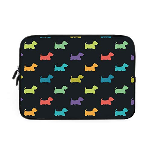 - Dog Lover Laptop Sleeve Bag,Neoprene Sleeve Case/Colorful Dog Silhouettes West Highland Terriers Canine Cartoon Style Animal Fun/for Apple MacBook Air Samsung Google Acer HP DELL Lenovo AsusM