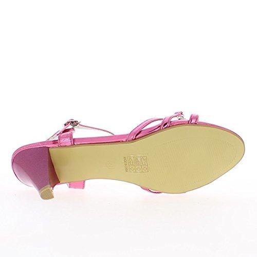 Grande strass di fucsie dimensione sandali a tacco 7,5 cm
